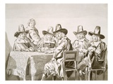 Seventeenth Century Meeting of a Committee of Town Worthies or Similar, around a Table, from 1663 Giclee Print by Jan de Bray