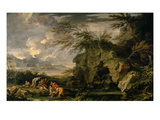 The Finding of Moses, 1660-1665 (Oil on Canvas) Giclée-tryk af Salvator Rosa