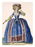 English Style Hooped Dress in Electric Blue with Burgundy Frilled Edging, Engraved by Bacquoy Giclee Print by Pierre Thomas Le Clerc
