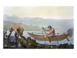 Fisherman in a Canoe and Man Collecting Giant Shells, Island of Ubi, from 'Costume Dei...' Giclee Print by C. Bottigella