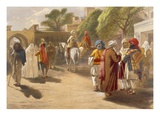 Peshawar Market Scene, from 'India Ancient and Modern', 1867 (Colour Litho) Giclee Print by William 'Crimea' Simpson