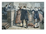 Witches of Salem - a Girl Bewitched at a Trial in 1692 (Colour Litho) Giclee Print by  American