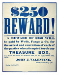 Reward Poster for the Attempted Robbery of the Wells Fargo 'Treasure Box', Issued 20th October 1875 Giclee Print by  American