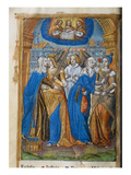 Livre D&#39;Or, with Allegories of the Church, Justice, Peace and Mercy, C.1500 (Vellum) Giclee Print by Germain Hardouin