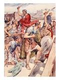 The Pursuit of Gaius Gracchus, Illustration from 'Plutarch's Lives for Boys and Girls' Giclee Print by William Rainey