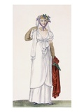 Lady's Soft Style Walking Dress, 1805 (Coloured Engraving) Giclee Print by Pierre de La Mesangere