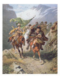 Cossacks of the Caucasus Return from a Raid on a Settlement of Muslim Cossacks Giclee Print by  Russian