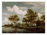A River Scene, 1658 (Oil on Oak Panel) Lámina giclée por Meindert Hobbema