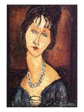 Jeanne Hebuterne with a Necklace, 1917 Stampa giclée di Amedeo Modigliani