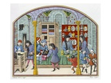 Shops under a Covered Market, after a Miniature in a 14th Century Translation Giclee Print by  French