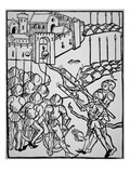 Use of Handguns in the 15th Century, Illustration from the 'Rudicum Novitiorum', 1475 (Woodcut) Giclee Print by  German