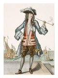 Captain Jean Bart of Dunkerque (Coloured Engraving) Giclee Print by  French