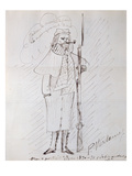 Self Portrait as a Soldier, 1870-71 (Pen and Ink on Paper) Giclée-Druck von Paul Verlaine