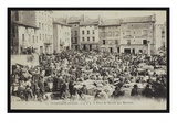Postcard Depicting the Cattle Market Place in Pradelles, C.1900 (B/W Photo) Giclee Print by  French Photographer