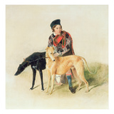A Ghillie and Two Deerhounds Giclee Print by Edwin Henry Landseer