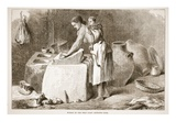 Woman of the West Coast Grinding Corn Giclee Print by  English