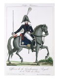 Mounted Officer of the Royal Gendarmerie of Paris, C.1790 (Colour Litho) Giclee Print by  French