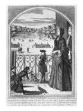 King Louis Xv (1710-74) and Madame De Ventadour in Vincennes, C.1715-16 (Engraving) (B/W Photo) Premium Giclee Print by Nicolas Guerard