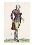 A Gallant Young Man Wearing Crushed Velvet Outfit with Covered Buttons, Engraved by Baquoi Giclee Print by Francois Louis Joseph Watteau