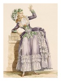 Lady's Gown in Mauve and Green Taffeta with a Matching Bonnet, Engraved by Dupin, Giclee Print by Francois Louis Joseph Watteau