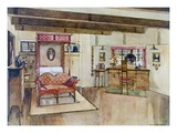 A Bedroom in the Arts and Crafts Style (Colour Litho) Giclee Print by Tom Merry