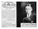 Prohibition Agent Id Card of Eliot Ness (1903-57) Dated 20th May, 1927 (Litho) Giclee Print by  American