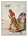 Robinson Crusoe on His Raft Giclee Print by  English