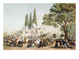 Pilgrims Halting in Jaffa at the Fountain of Sabil Abu Nabut (Colour Litho) Giclee Print by  French