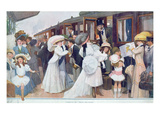 Arrival of the Husbands by Train, 1908 (Colour Litho) Giclee Print by  French