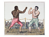 Tom Molineaux Versus Tom Cribb, 28th September, 1811 at Thistleton, England (Colour Litho) Giclee Print by  English