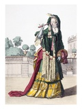 Lady's Green Silk Shawl, 1650 (Coloured Engraving) Giclee Print by  French