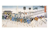 Samurai Warriors on the March (Colour Woodblock Print) Reproduction procédé giclée par  Japanese