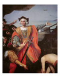 Christopher Columbus, on Board His Caravel, Gestures to the Island of Guanahani (San Salvador) Premium Giclee Print by  French