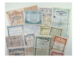 Collection of Bond Certificates, Early 20th Century (Colour Litho) Giclee Print by  French