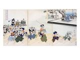 Warlord Watches Samurai Practising their Swordplay (Colour Woodblock Print) Giclee-tryk i høj kvalitet af  Japanese