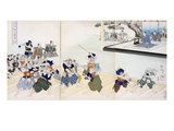 Warlord Watches Samurai Practising their Swordplay (Colour Woodblock Print) Giclée-Druck von  Japanese