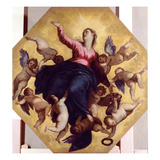 Madonna Carried by Angels (Ceiling Fresco) Giclee Print by  Palma Il Giovane
