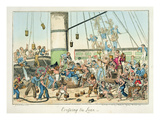Crossing the Line', Illustration from a Series of Prints on Life in the Navy, 1825 (Colour Litho) Giclee Print by George Cruikshank