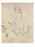 At the Cafe (Pencil and Ink on Paper) Giclee Print by Henri de Toulouse-Lautrec