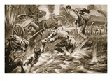 Temporary-Lieutenant G.G. Nanson Rescuing a Wounded Driver under Shell-Fire (Litho) Giclee Print by Howard K. Elcock