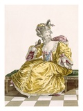 Lady's Gold Taffeta Ball Gown, Engraved by Patas, Plate No.86 Giclee Print by Pierre Thomas Le Clerc