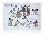 Aztec Pulque Deity Blowing on a Tube Above a Jar of Pulque and Men Drinking Pulque Giclee Print by  Aztec