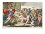Soldiers Spring from the Serpent's Teeth, Illustration from Ovid's Metamorphoses, Florence, 1832 Giclee Print by Luigi Ademollo
