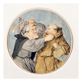 T31130 Two Monks Fighting, 1690 (W/C, Ink, Chalk) Lámina giclée por Cornelis Dusart