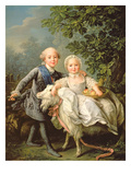 Portrait of Charles Philippe of France (1757-1836) (Later Charles X) and His Sister Marie Adelaide Premium Giclee Print by Francois-Hubert Drouais