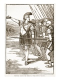 Pelopidas Leading the Thebans at the Battle of Leuctra (Litho) Giclee Print by  English