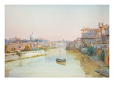 View of the Tevere from the Ponte Sisto (W/C on Paper) Giclee Print by Ettore Roesler Franz