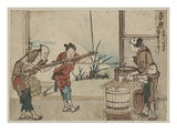 An Older Man and Two Young Apprentices Manually Operating a Stirring Device, Yoshiwara Giclee Print by Katsushika Hokusai
