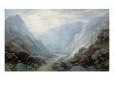 Figures Resting on the Pathway Through a Rocky Gorge (W/C and Bodycolour on Paper) Giclee Print by Waller Hugh Paton