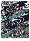 Fabric Design, End Nineteenth Century (W/C on Woodcut) Giclée-Druck von  Japanese